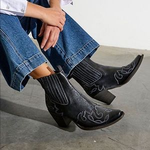 Free People Sparks Fly Western Boots Black